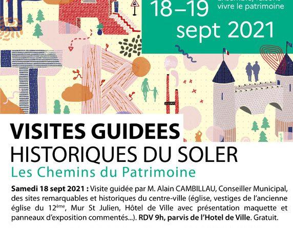 2 visites guidées historiques du Soler organisées pour les journées du Patrimoine, samedi 18 et dimanche 19 septembre 2021